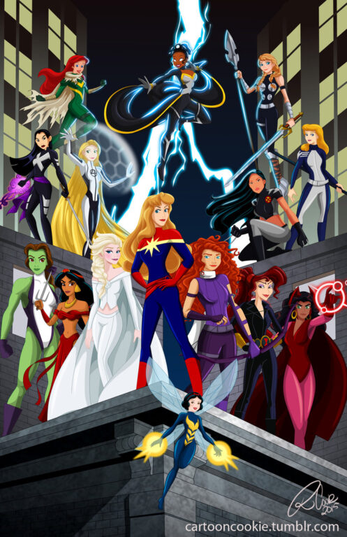 Cool Mash-Up of Disney Princesses with Marvel Heroes!