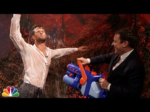 Chris Hemsworth Gets Soaking Wet for Jimmy Fallon