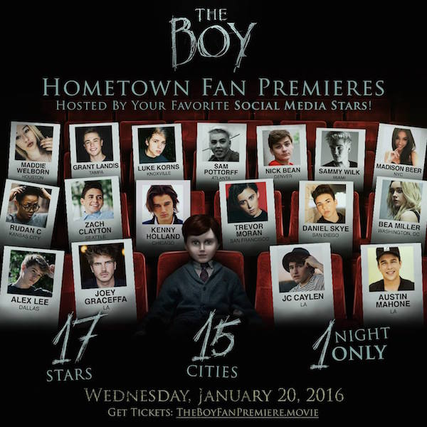GET FREE TICKETS INSTANTLY for Tomorrow's Red Carpet Screenings of THE BOY with Lauren Cohan – Screenings Are Being Held in 15 Cities!