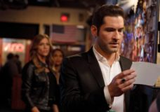 "LUCIFER: (L-R) Tricia Helfer, Lesley-Ann Brandt and Tom Ellis in the ""Love Handles"" episode of LUCIFER airing Monday, Jan. 23 (9:01-10:00 PM ET/PT) on FOX. ©2017 Fox Broadcasting Co. Cr: Michael Courtney/FOX."