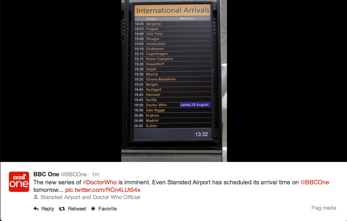 Even the Airports in London Are Excited About the Doctor Who Premiere