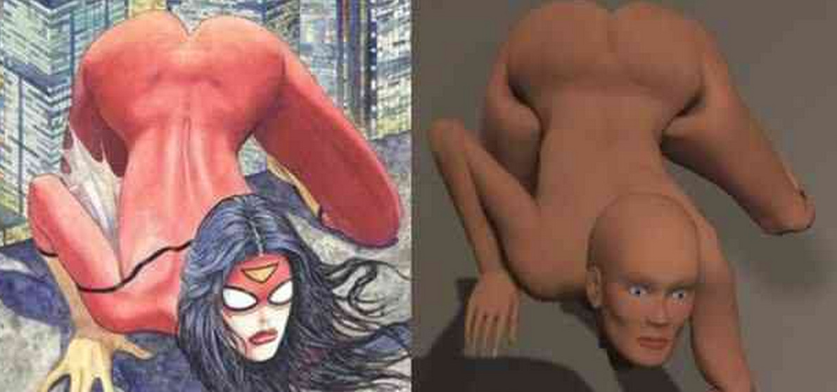 OUCH! ARTIST DOES 3-D RENDERING OF THE SPIDER-WOMAN #1 COVER BY MILO MANARA
