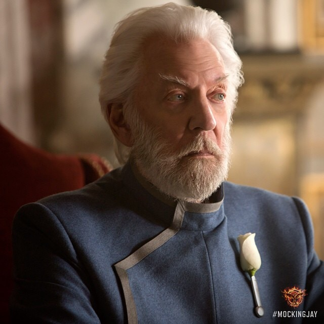 Donald Sutherland as President Coriolanus Snow in The Hunger Games