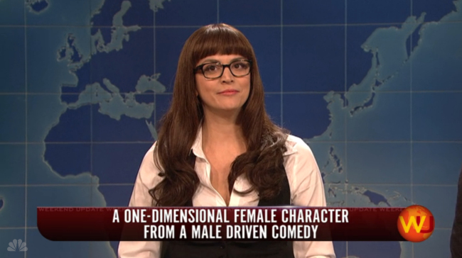 SNL Weekend Update: Cecily Strong's Commentary On Women in Male Driven Comedies.
