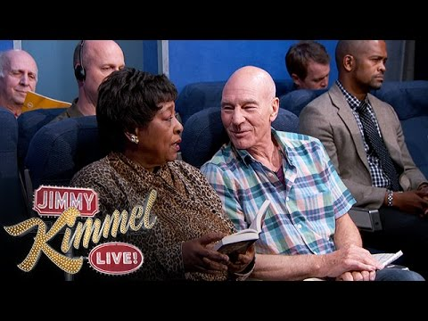 Patrick Stewart Stars in Jimmy Kimmel Sketch: The Most Annoying People on the Plane