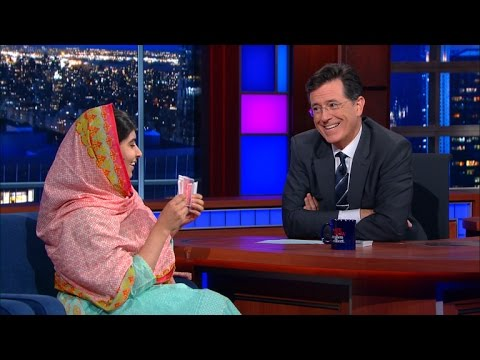 Card Tricks With Malala And Stephen Colbert!