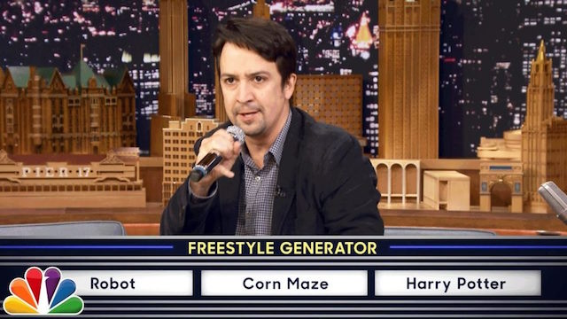 Lin-Manuel Miranda Faces Off With The Roots' Tariq Trotter On The Tonight Show