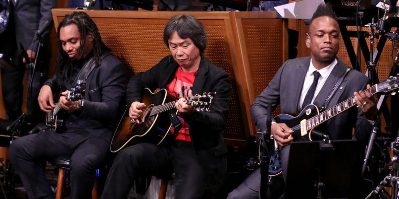 Shigeru Miyamoto Sat In With The Roots To Perform The Super Mario Theme!