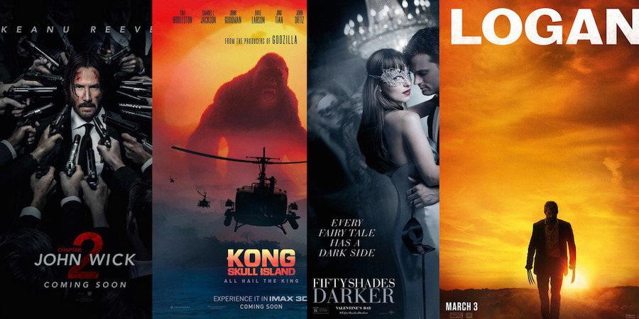 Bite Sized Movie Reviews – JOHN WICK 2, LOGAN, KONG SKULL ISLAND, FIFTY SHADES DARKER