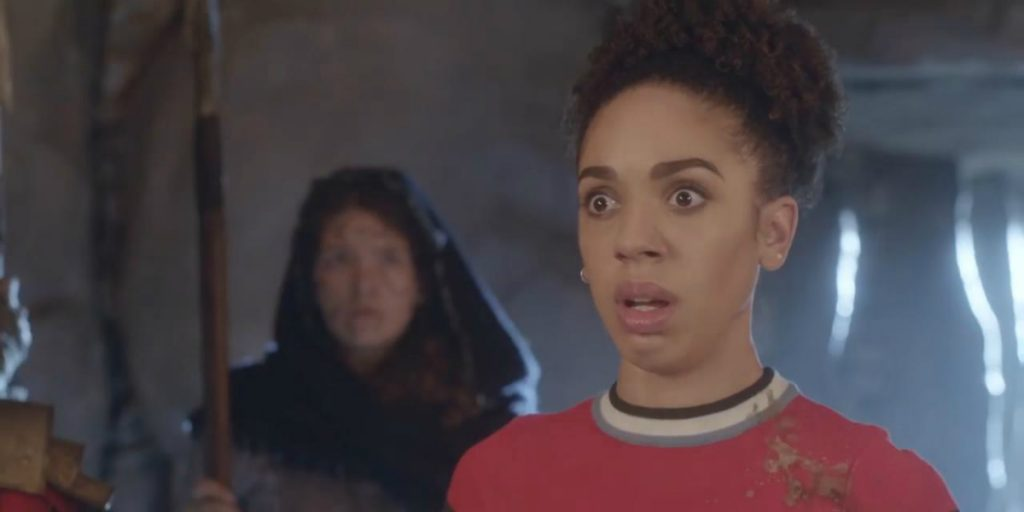 Still of Pearl Mackie as Bill Potts in Doctor Who.