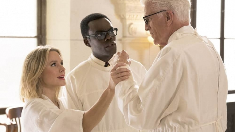 Still of Kristen Bell, William Jackson Harper, and Ted Danson in The Good Place