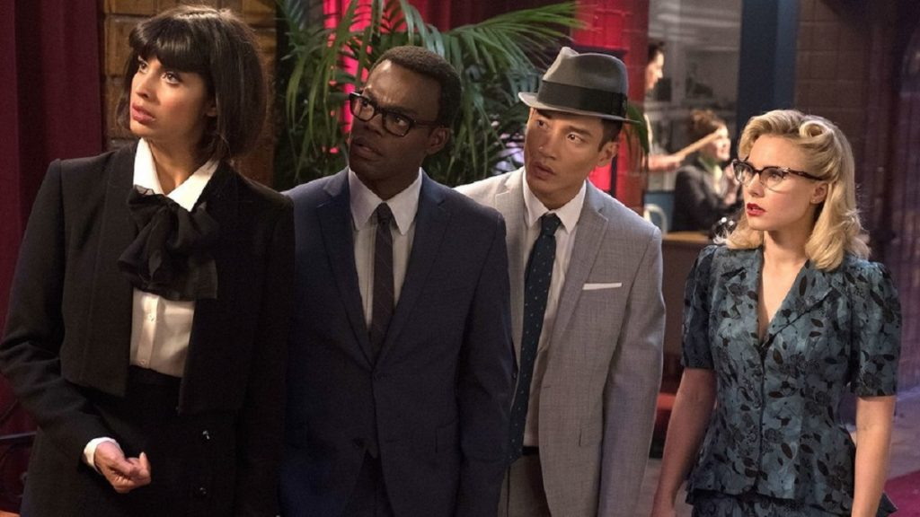 Still of Jameela Jamil, William Jackson Harper, Manny Jacinto and Kristen Bell in The Good Place