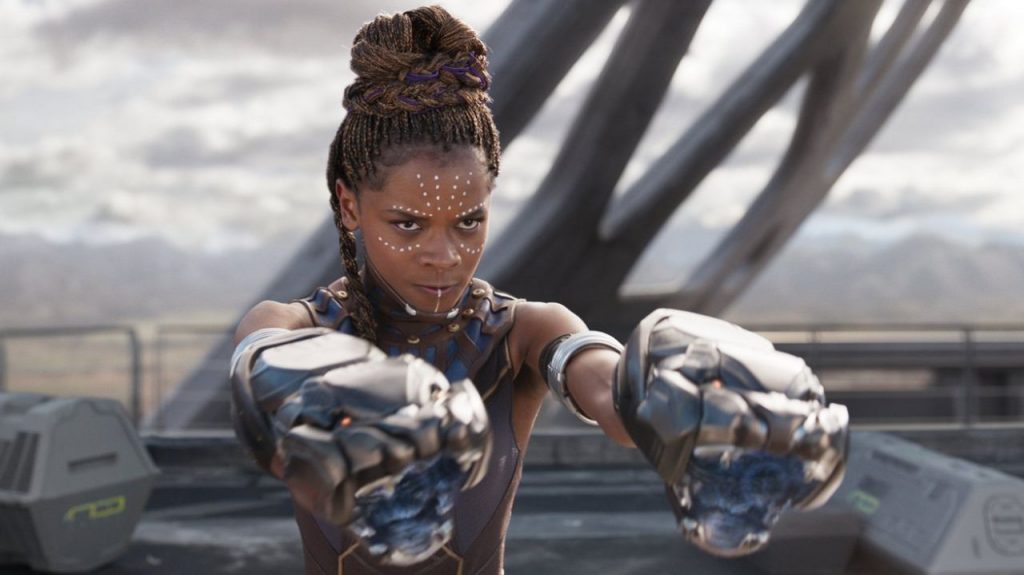 Still of Letitia Wright as Shuri in Black Panther.