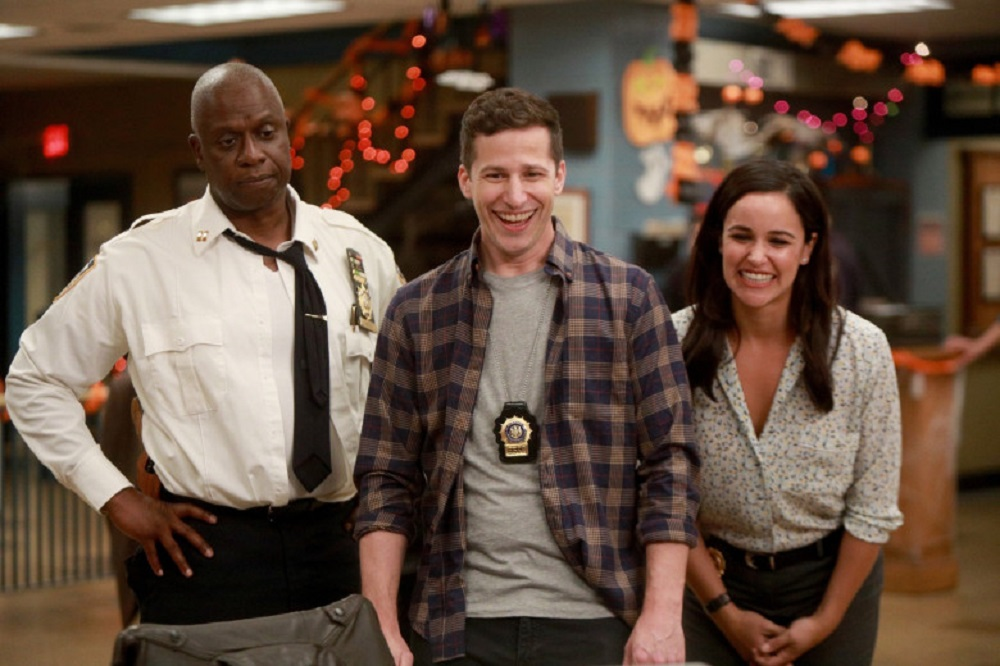 Still of Andre Braugher as Raymond Holt, Andy Samberg as Jake Peralta and Melissa Fumero as Amy Santiago.