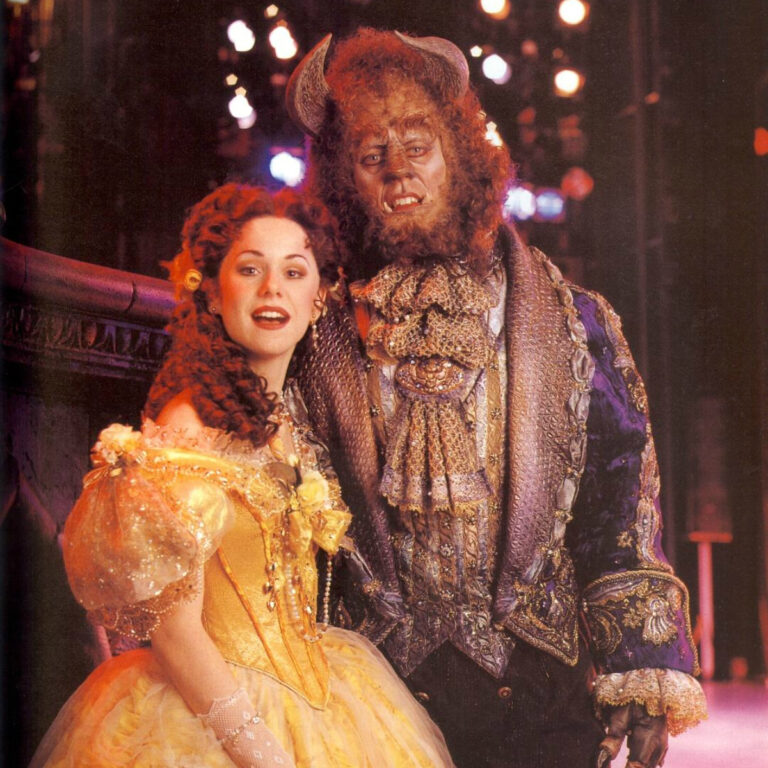 Terrence Mann and Susan Egan in the wings of Broadway's Beauty and the Beast.