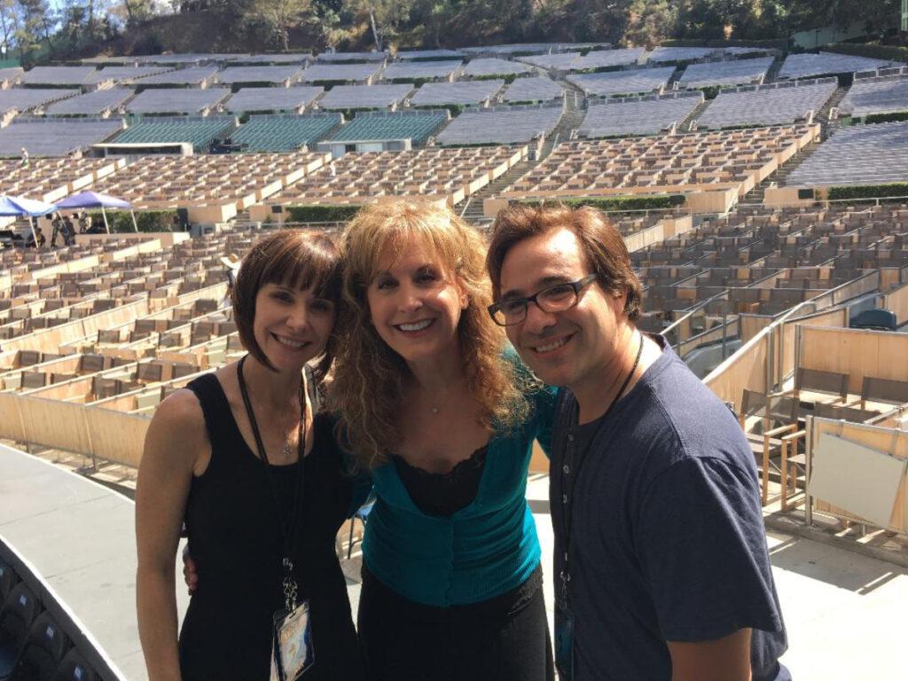 Susan Egan, Jodi Benson (Ariel) and Brad Kane (Aladdin) at The Hollywood Bowl.