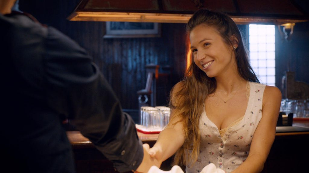 Waverly Earp tending bar at Shorty's - Wynonna Earp - (c) Syfy