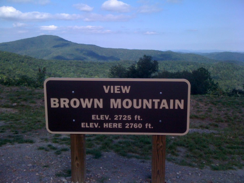 A sign for Brown Mountain, a location of one of the US's famous urban legends.