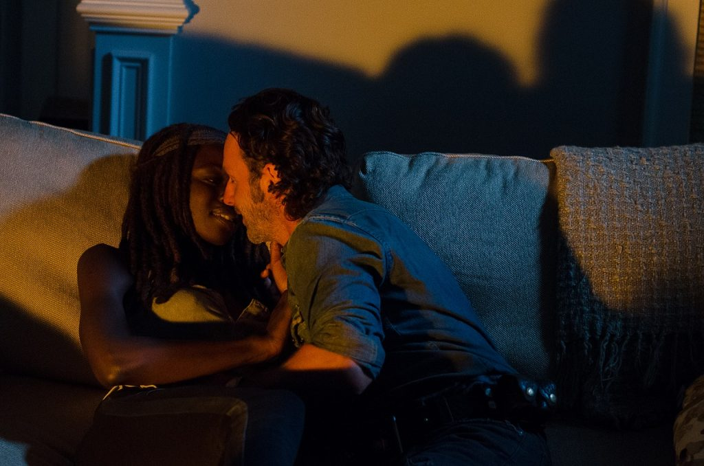 Still of Danai Gurira and Andrew Lincoln as a couple in The Walking Dead.