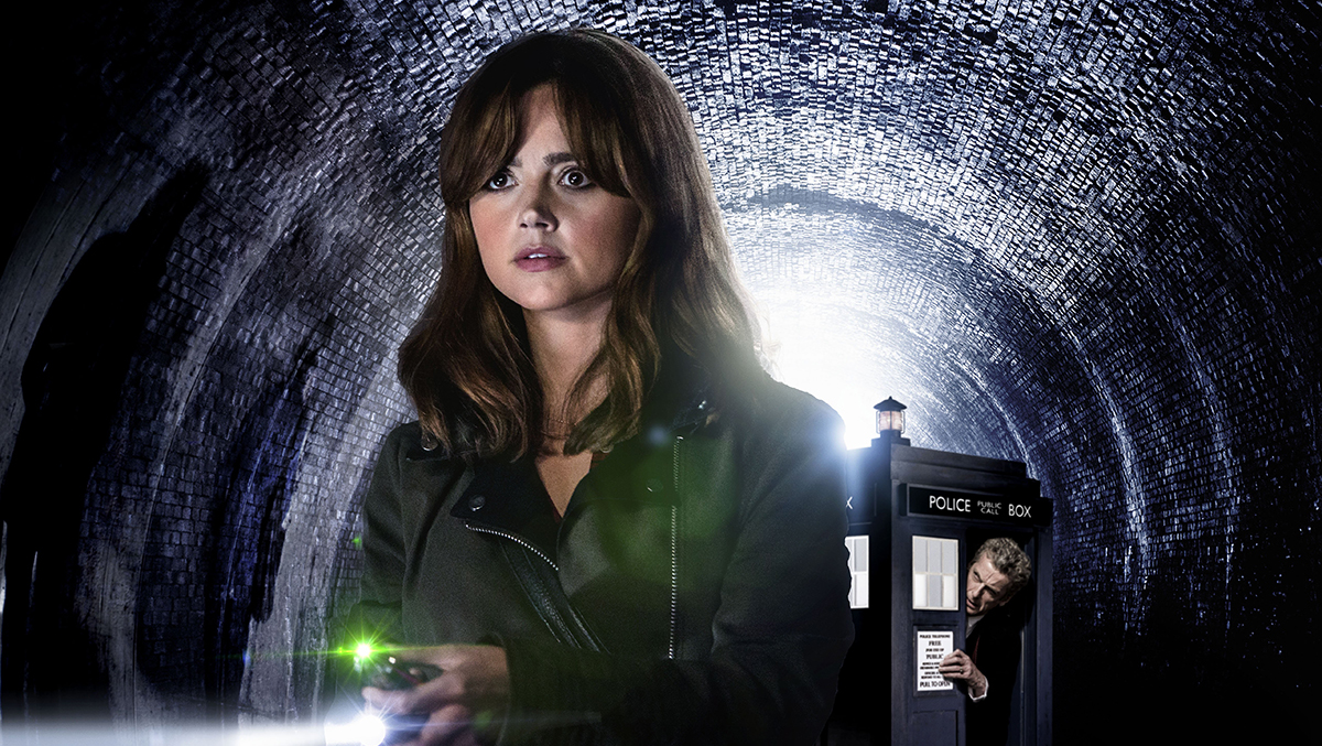 Promotional Image of Clara (Jenna Coleman) and The Doctor (Peter Capaldi) in Doctor Who.