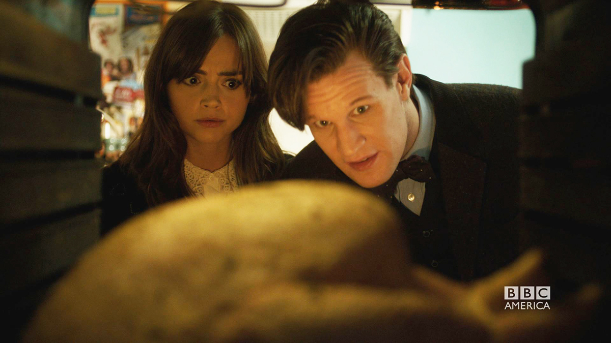 "Still Image of Clara (Jenna Coleman) and The Doctor (Matt Smith) in the Doctor Who Christmas Special ""Time of the Doctor"""