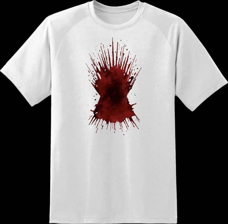 t-shirt with the image of blood spatter in the shape of the iron throne