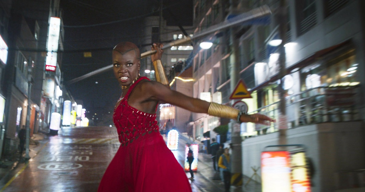 Okoye prepares to fight in Black Panther