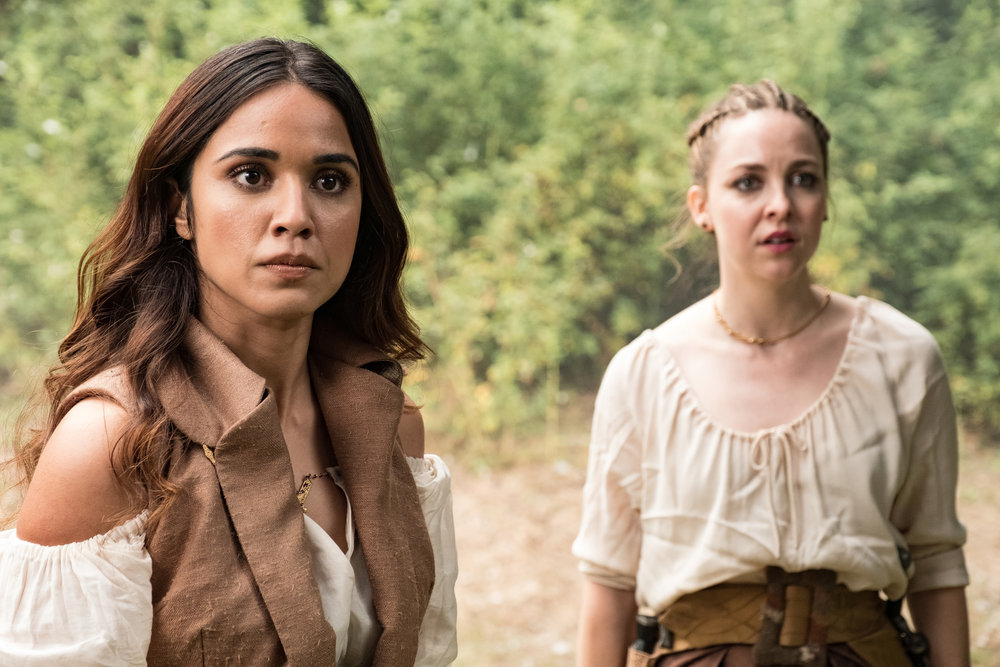 Still of Summer Bishil as Margo and Brittany Curran as Fen in The Magicians