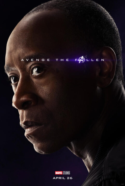 Don Cheadle as James Rhodes/War Machine in Avengers: Endgame.