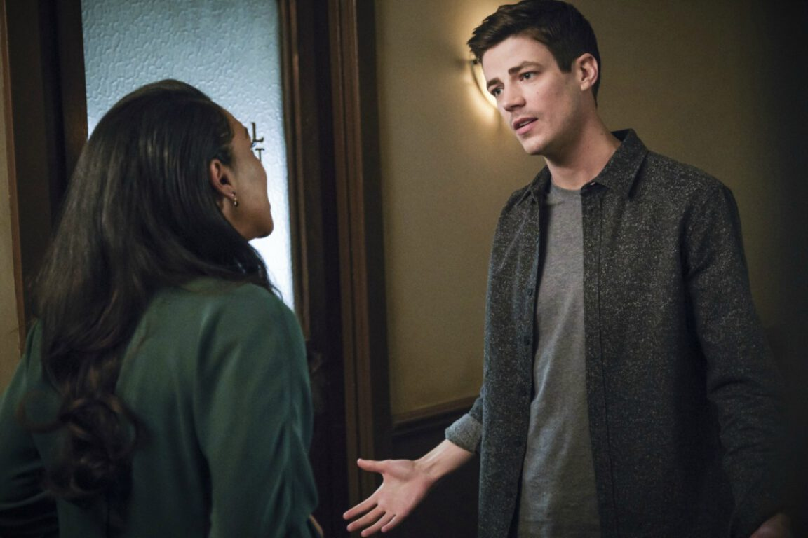 "Candice Patton as Iris West - Allen and Grant Gustin as Barry Allen in The Flash, ""Gone Rogue"""
