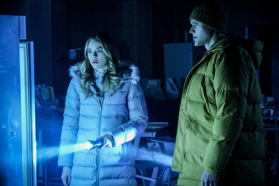 "Danielle Panabaker as Caitlin Snow and Hartley Sawyer as Dibney in The Flash, ""Gone Rogue"""