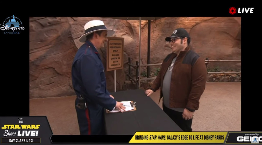 Cory Rouse and Josh Gad in a sketch for the Star Wars Galaxy's Edge panel