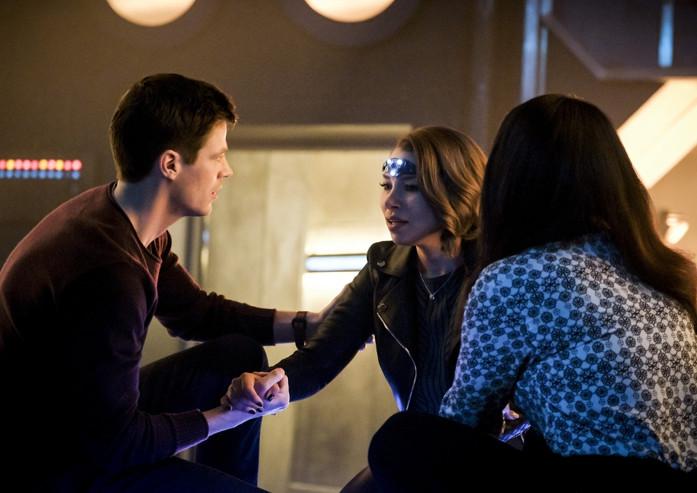 """Grant Gustin as Barry Allen, Jessica Parker Kennedy as Nora and Candice Patton as Iris West - Allen The Flash -- """"The Girl with The Red Lightning"""""""