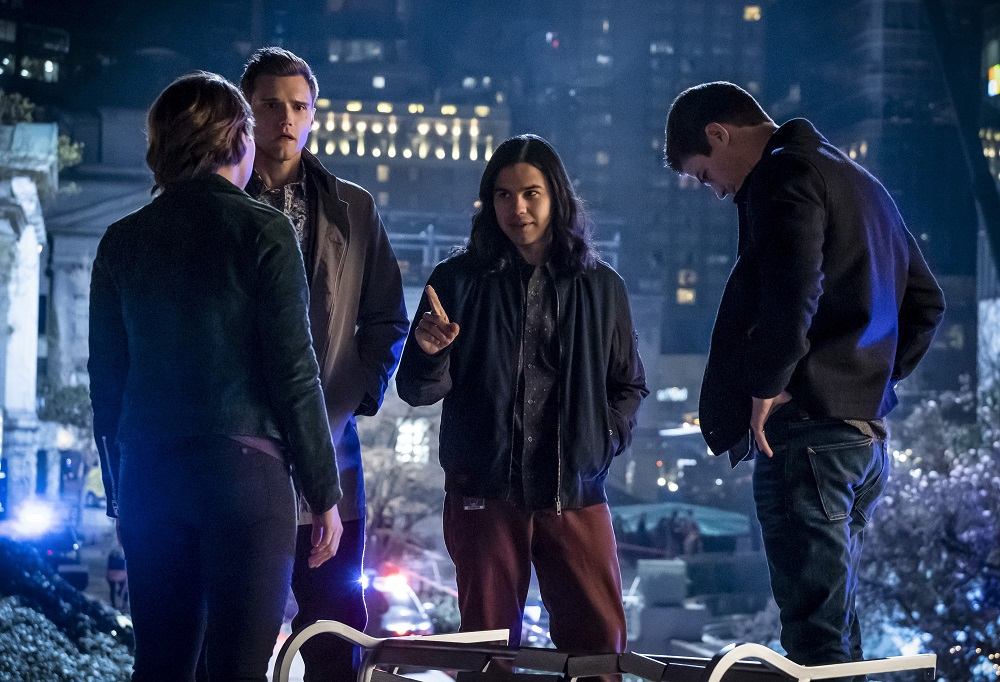 """Jessica Parker Kennedy as Nora, Hartley Sawyer as Dibney, Carlos Valdes as Cisco Ramon and Grant Gustin as Barry Allen in The Flash -- """"The Girl with The Red Lightning"""""""