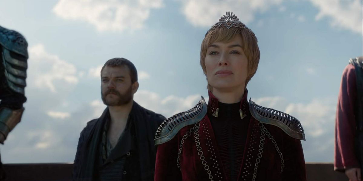 Cersei Lannister looks smug as her Hand strides forth to parley with Tyrion. Euron Greyjoy stands behind her.