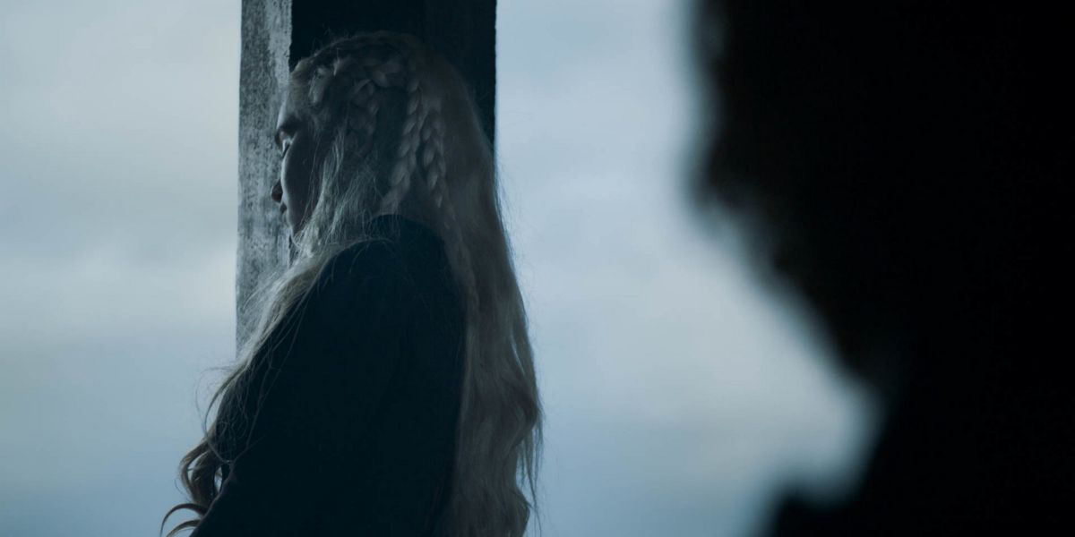 Daenerys looks out a window on Dragonstone in Game of Thrones