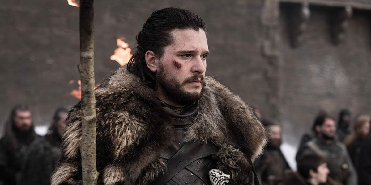Jon Snow delivers a eulogy at the funeral for those who died in the Battle of Winterfell