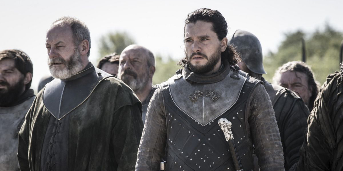 Ser Davos and Jon Snow assess the situation on Game of Thrones