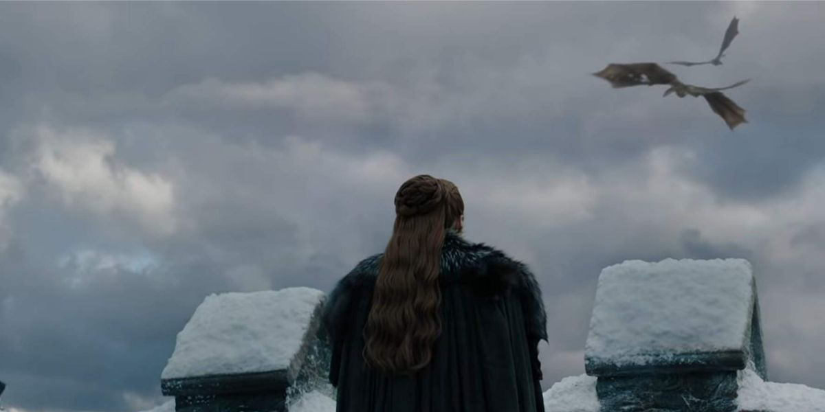 Sansa watches Drogon and Rhaegal fly above Winterfell
