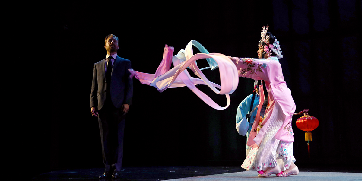 Butterfly performs Chinese Opera for René in South Coast Repertory's M. Butterfly