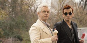 Aziraphale and Crowley enjoy ice creams in the finale of season one of Good Omens