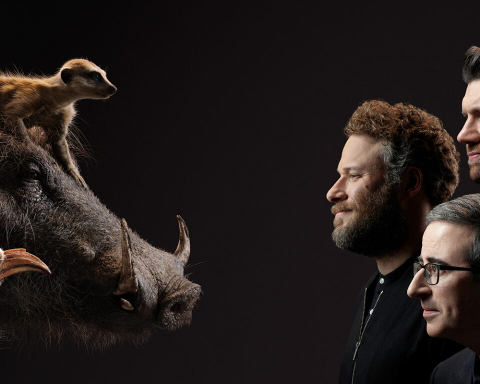 Seth Rogan, Billy Eichner, and John Oliver in the Lion King