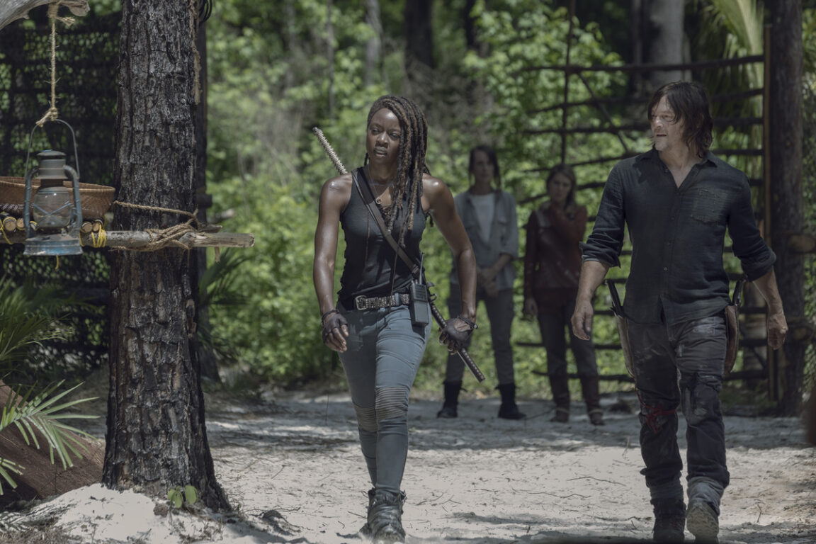 Michonne and Daryl lead the survivors on The Walking Dead