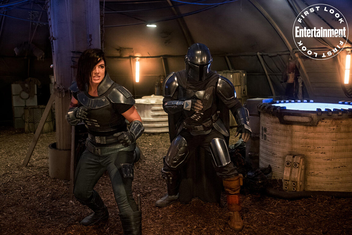 Pedro Pascal and Gina Carano in The Mandalorian