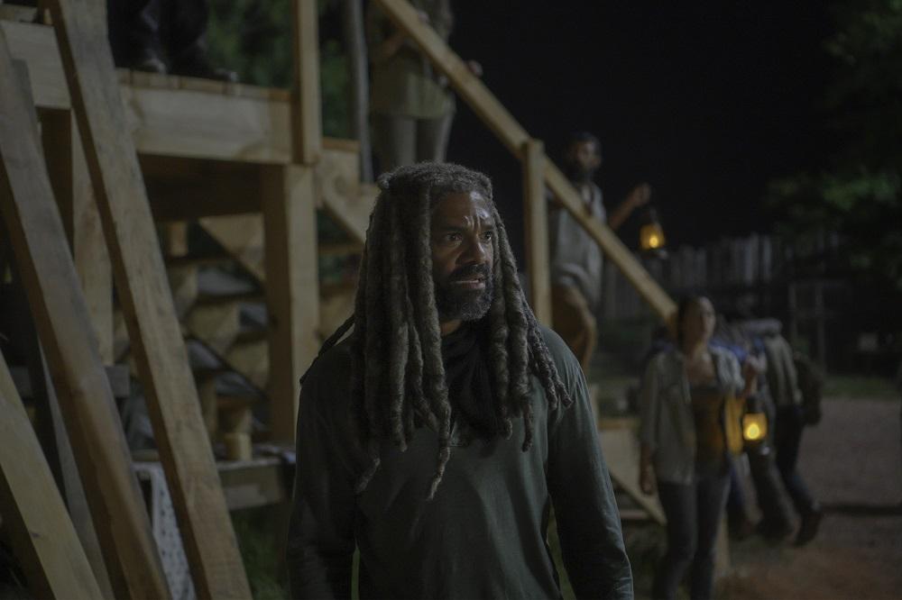 Ezekiel looks in horror after a tree falls in Hilltop on The Walking Dead