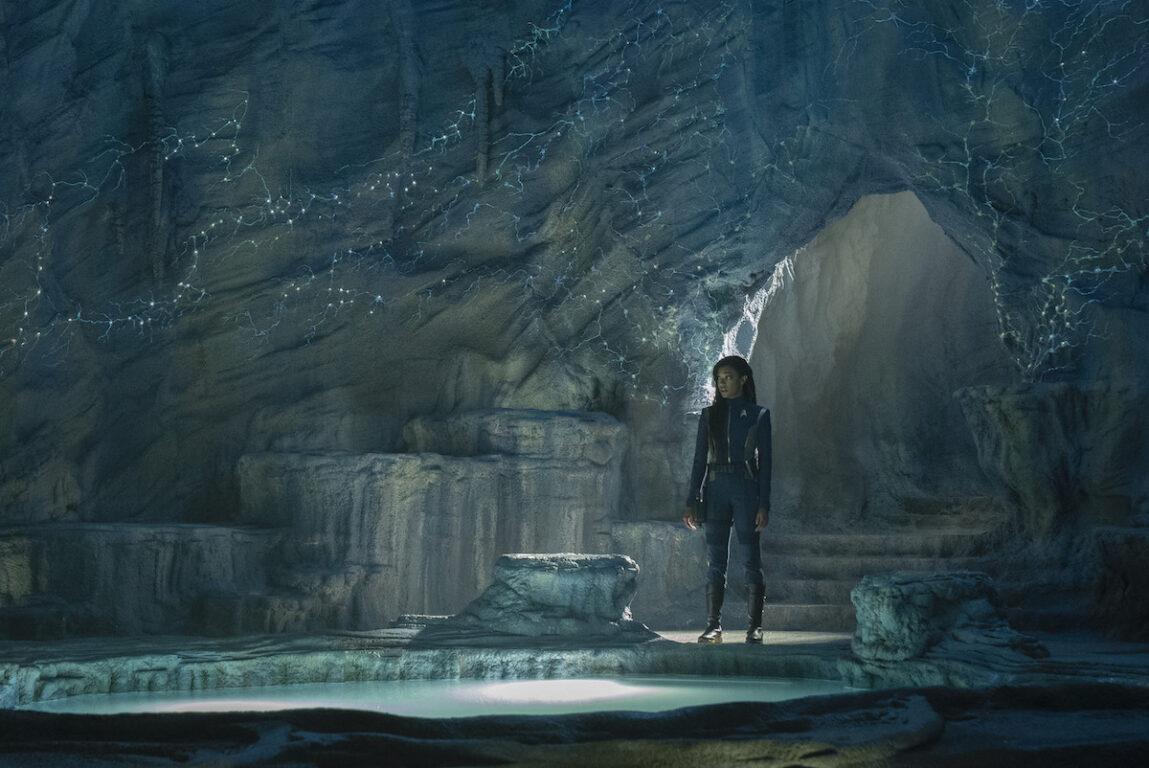 Michael Burnham in a cavern on  Star Trek: Discovery