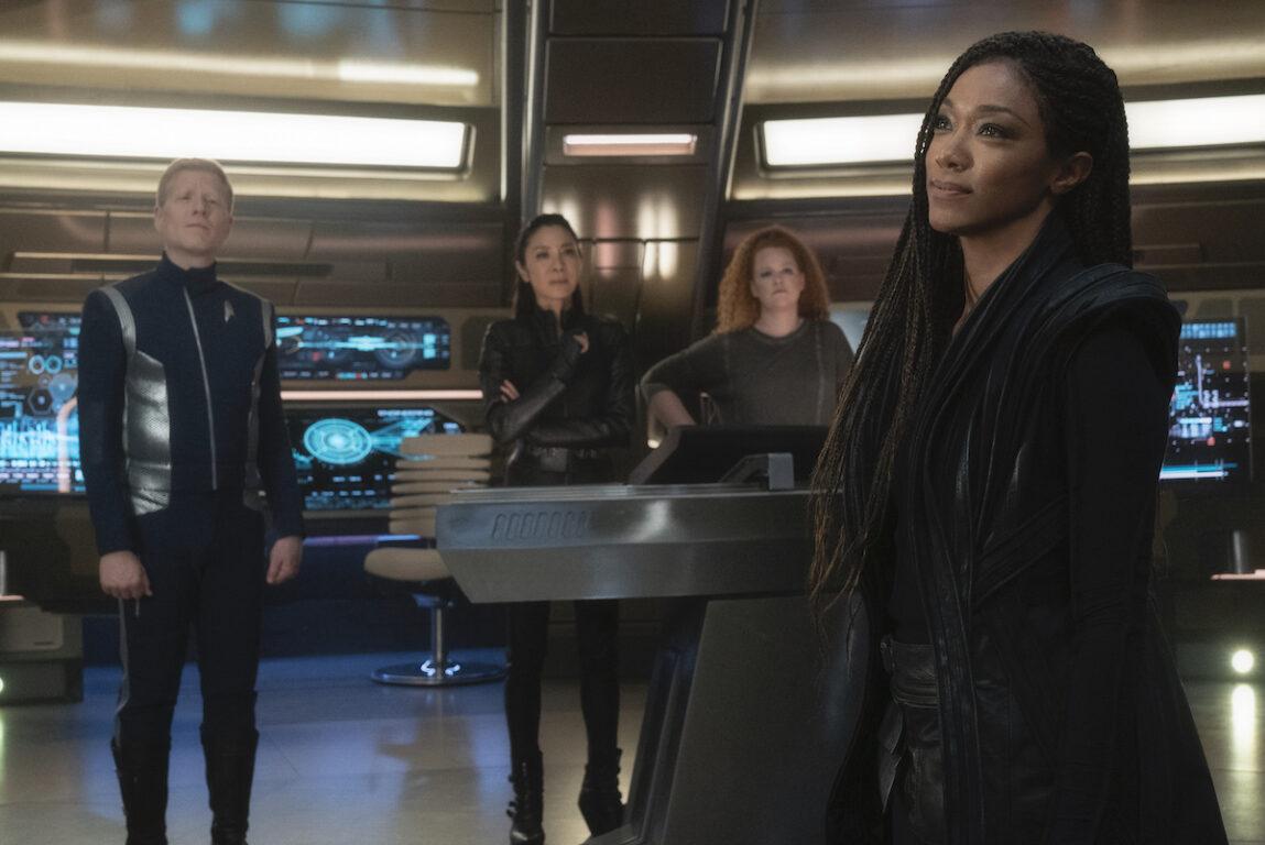 Burnham, Tilly, Georgiou and Stamets on the Star Trek Discovery bridge