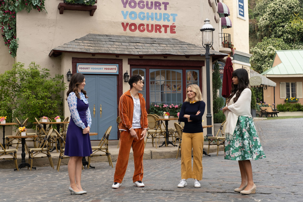Still of D'Arcy Carden, Manny Jacinto, Kristen Bell and Jameela Jamil in The Good Place