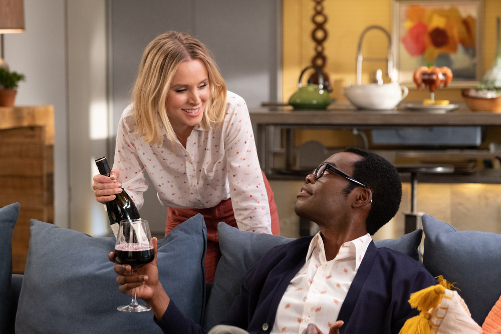 Still of Kristen Bell and William Jackson Harper in The Good Place