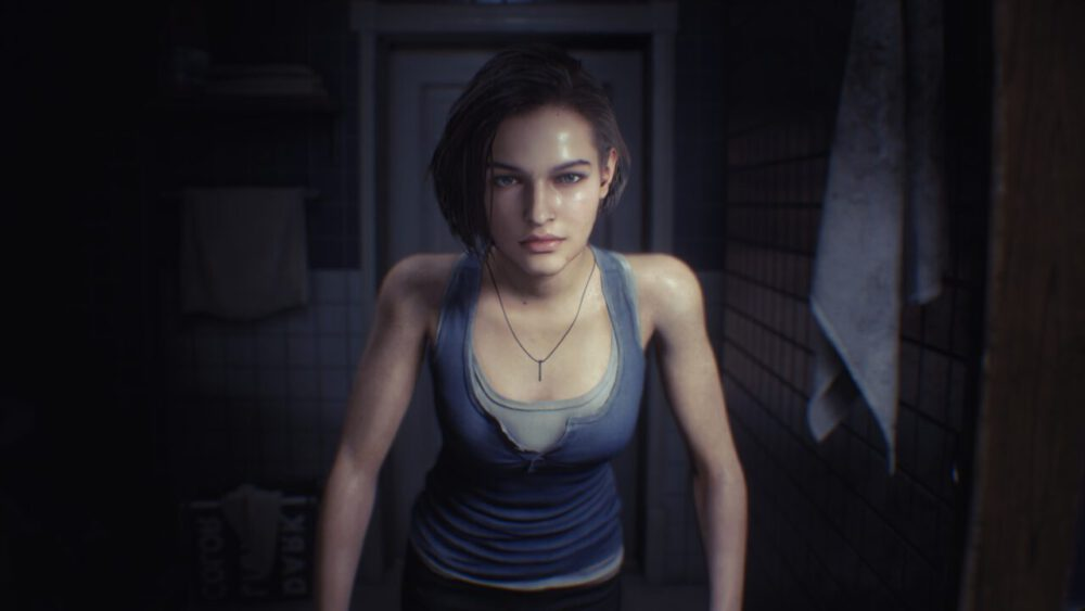 Jill looking in the mirror in Resident Evil 2.